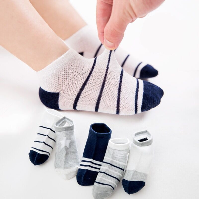 5Pairs Children Sports Socks Spring Summer Autumn Cotton Kids Socks For Girls Breathable Knitted Unisex Thin Short Socks Boys