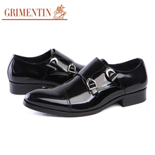 GRIMENTIN Italian fashion genuine leather mens dress shoes casual balck wedding business double monk strap male shoes mens flats