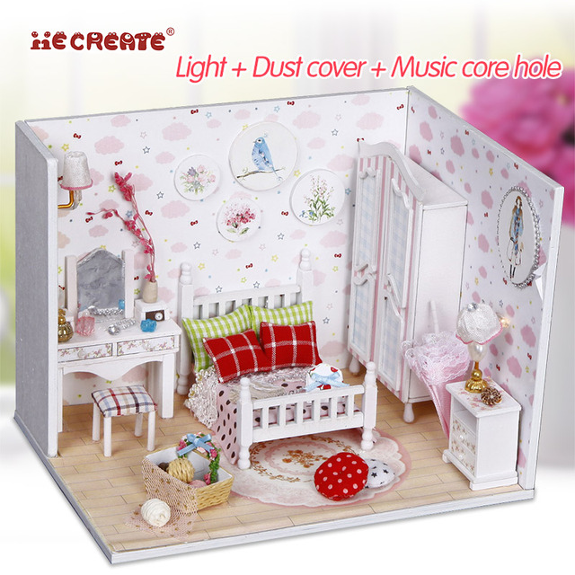 DIY Wooden House Miniaturas with Furniture DIY Miniature House Dollhouse Sweet Star Dream Toys for Children Birthday Gift