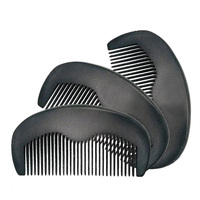100PCS Natural Peach Wood Fine Tooth Black Color Small Comb For Men Beard & Women Hair Care Engraved Logo