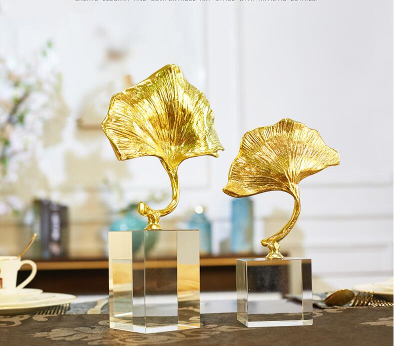 European style furnishing ornament crystal copper lotus leaf modern simple creative living room porch handicraft decoration in Bottles Jars Boxes from Home Garden
