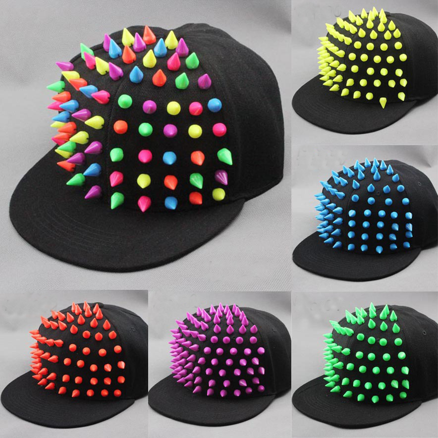 Handmade multicolour rivets spike punk hiphop black flat brim baseball cap snapbacks  hat-in Baseball Caps from Apparel Accessories on Aliexpress.com ... c25672a474a