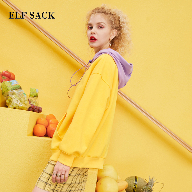 ELF SACK 2019 Spring New Woman Cotton Sweatshirts Full Letter Knitted Ladies Pullovers Patchwork Oversized Hooded Femme Hoodies 1