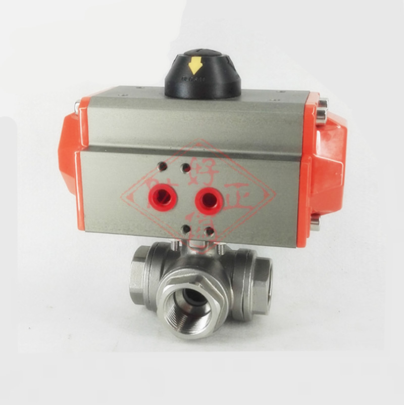 G1 DN25 Stainless Steel 304 Three way T-port Pneumatic Ball Valve Double Acting PTFE Seal Water Air Oil free shipping high quality dn25 1 stainless steel 304 double acting air actuated pneumatic ball valve actuator