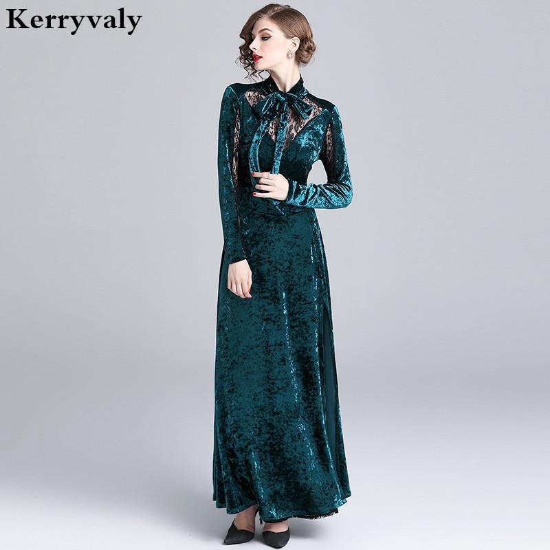 Winter Velvet Long Party Runway Dress Designers 2019 Banquet Evening Gown Long Sleeve Maxi Dress Vestido