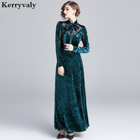 Winter Velvet Long Party Runway Dress Designers 2019 Banquet Evening Gown Long Sleeve Maxi Dress Vestido Longo Robe Pull K7538