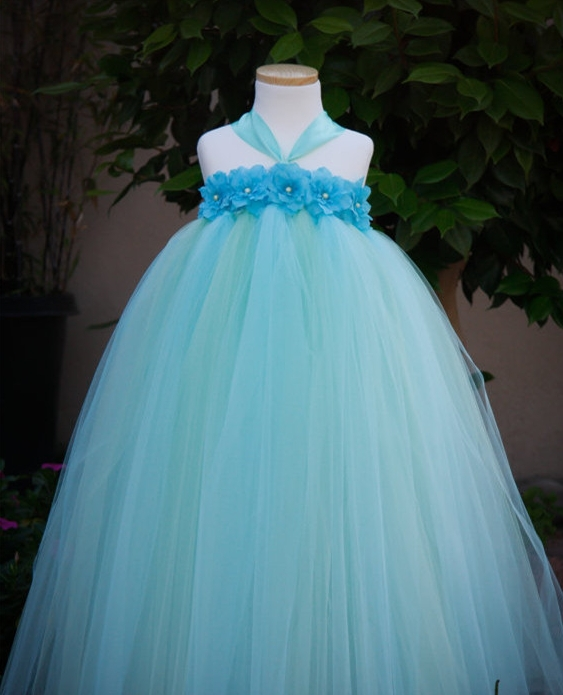 Mint Green Mix Turquoise 3 Color Flower Girl Dress For Baby Girl ...