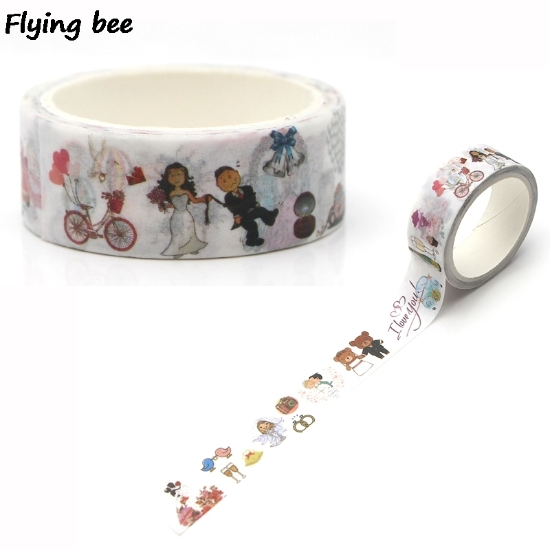 Flyingbee 15mmX5m Paper Washi Tape Wedding Creative Adhesive Tape DIY Scrapbooking Sticker Label Masking Tape X0258