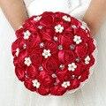 Custom Made Red Buquê de Casamento Broche Buquê de Noiva Bouquet Buque De Mariage Gelin Buketi Flores Do Casamento Buquê de Noiva