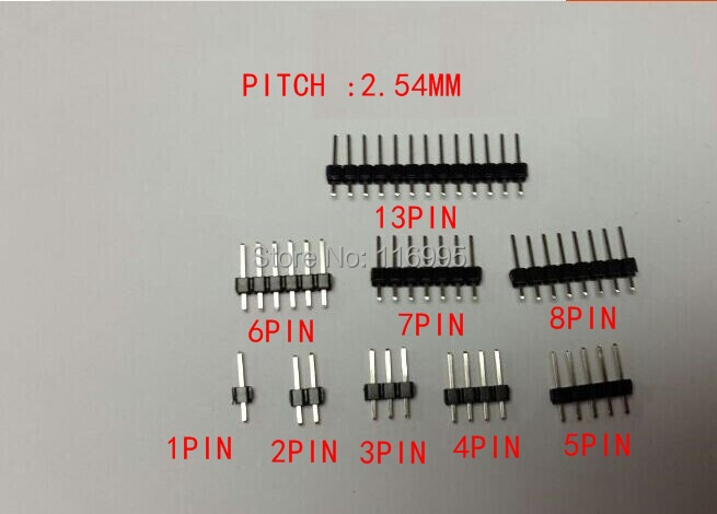 Free shipping 50pcs 1X6PIN PIN HEADER PITCH 2.54mm V/T TYPE length 11.5mm