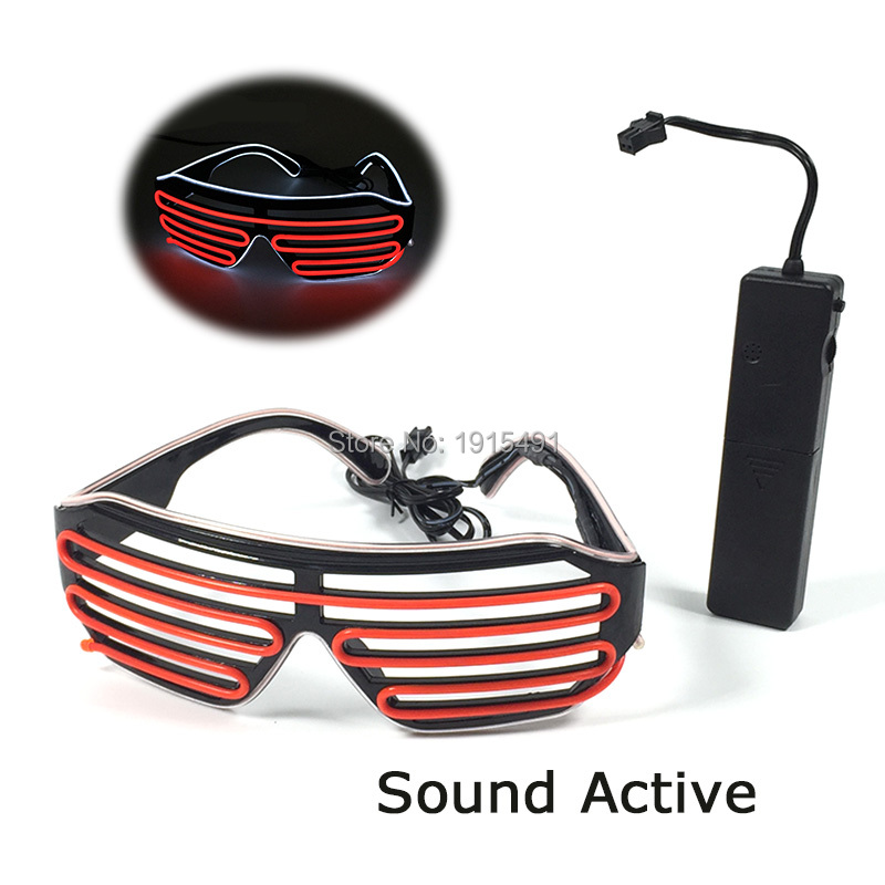 New Arrival Halloween Decor Black Frame White+Red Neon EL Wire LED Light Up Shutter Glasses For Concert Party,Holiday Lighting