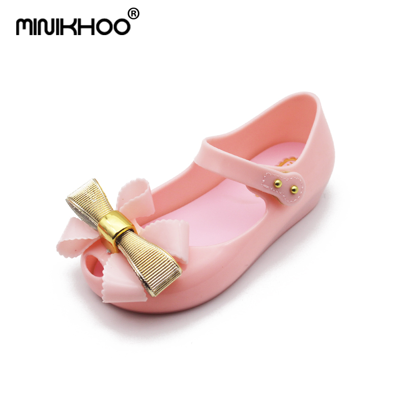 Mini Melissa Girls Jelly Bow Sandals 2018 New Melissa Jelly Sandals Toddler Shoes 15-18cm Comfortable Melissa Baby Sandals