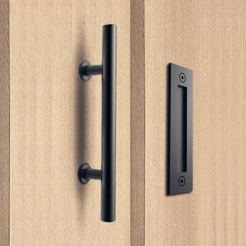 Poignée de porte de grange en acier inoxydable noir rustique de 12