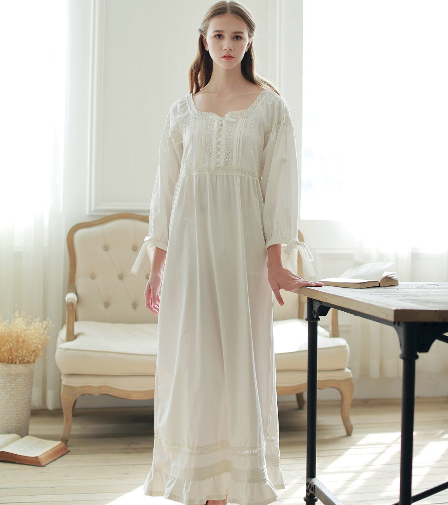 4a7df7bc65 Sweet Princess Lace Vintage Nightgowns For Women White Long Sleepwear Sleep  Dress Plus Size Nightwear Home Clothes S-L C814