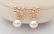 New Korean popular jewelry bow pearl stud earrings