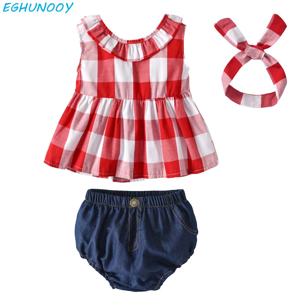 2019 New Summer Infant Newborn Toddler Baby Girl Clothes Sleeveless T Shirt flower Shorts Headband Outfits Baby Girl Clothes