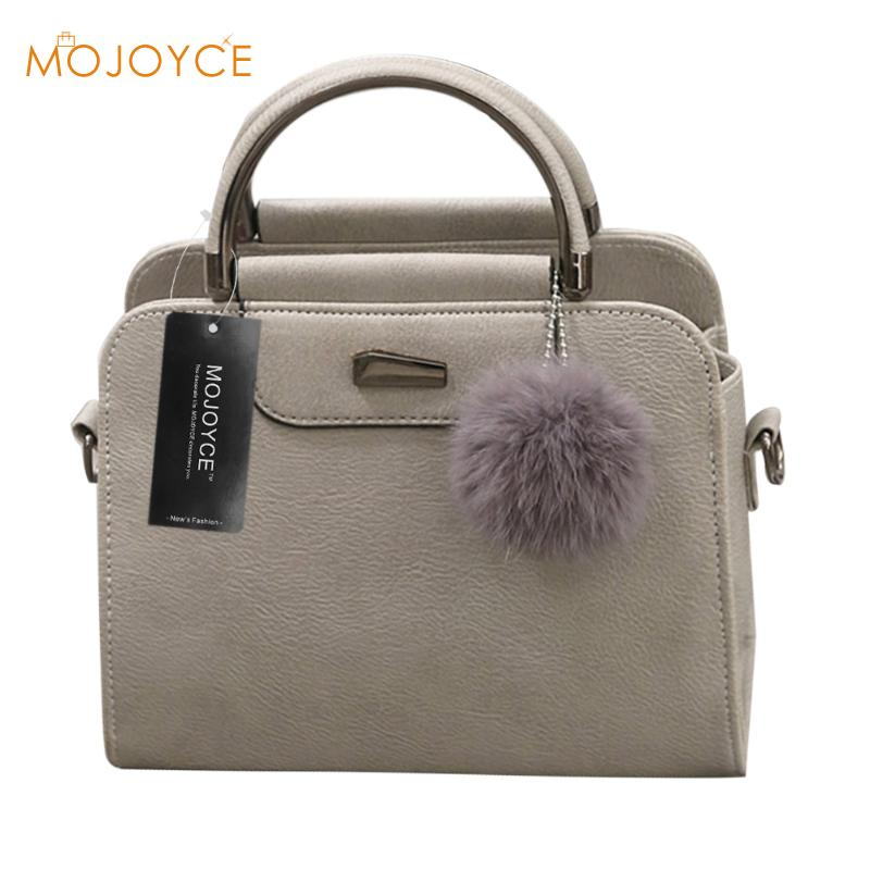 2018 Famous Designer Women Handbags PU Shoulder Bags Tote with Fur Ball Soft Women Messenger Bags Travel Female Crossbody Bags
