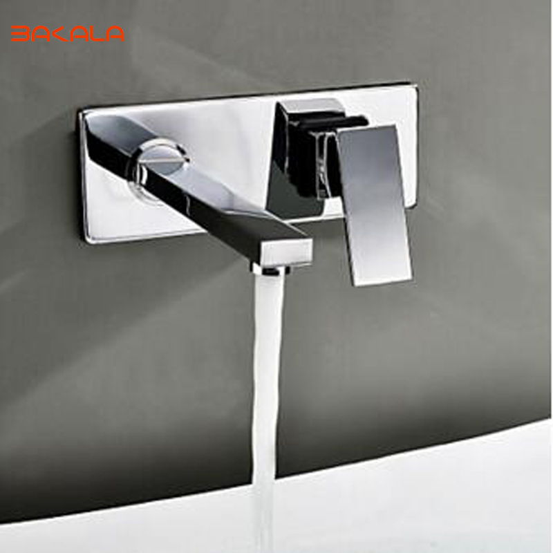 BAKALA  Free shipping Bathroom Basin Sink Faucet Wall Mounted Square Chrome Brass Mixer Tap free shipping high quality chrome finished brass in wall bathroom basin faucet brief sink faucet bf019