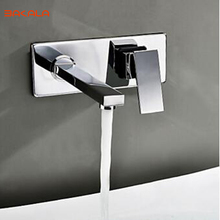 BAKALA Free shipping Bathroom Basin Sink Faucet Wall Mounted Square Chrome Brass Mixer Tap
