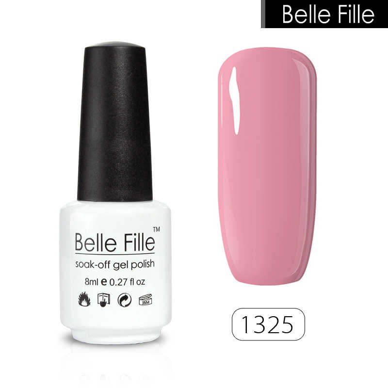 21e8252065 Belle Fille Gel Nail Polish 8ml Red Pink Nude Color Soak Off UV Gel Nail  Art Varnish ProfessionalVernis Semi Permanent 1466