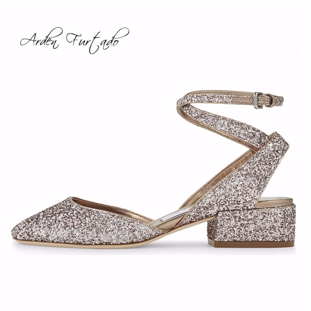 Summer New Silver Shoes Bling Sandals Ankle Strap Low Heeled Sequined For Woman