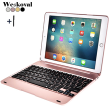 For iPad Air 2 Wireless Bluetooth Keyboard Case For iPad Air 2 Tablet PC Flip Stand Cover +Stylus Gfit