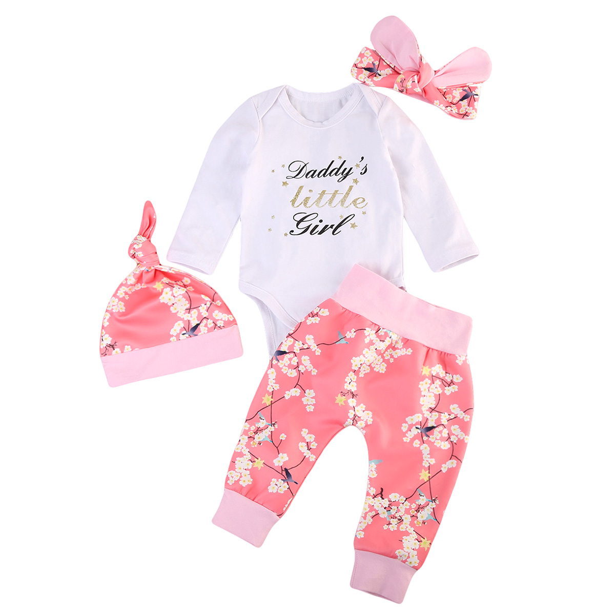 Toddler Baby Girls Romper Bodysuit Tops Pants Leggings Outfits Set Clothes 4pcs Fall daddys little girl outfit newborn baby girls clothing 2018 toddler baby girl tops bodysuit romper flower pants bow headband 3pcs clothes outfits set