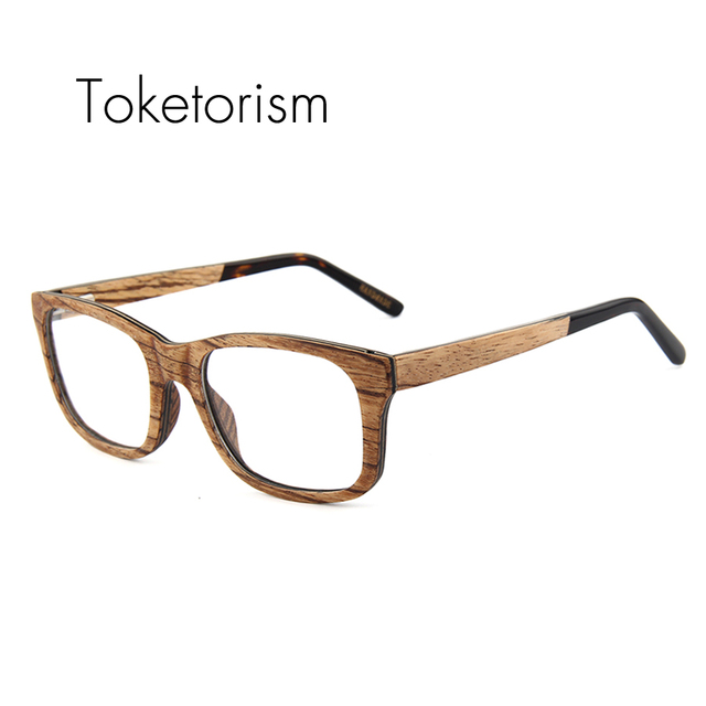 5ddbcfdbc36 Toketorism vintage wooden glasses frames men women Square Eyeglasses  handmade zebra wood gafas with clear lenses 4106