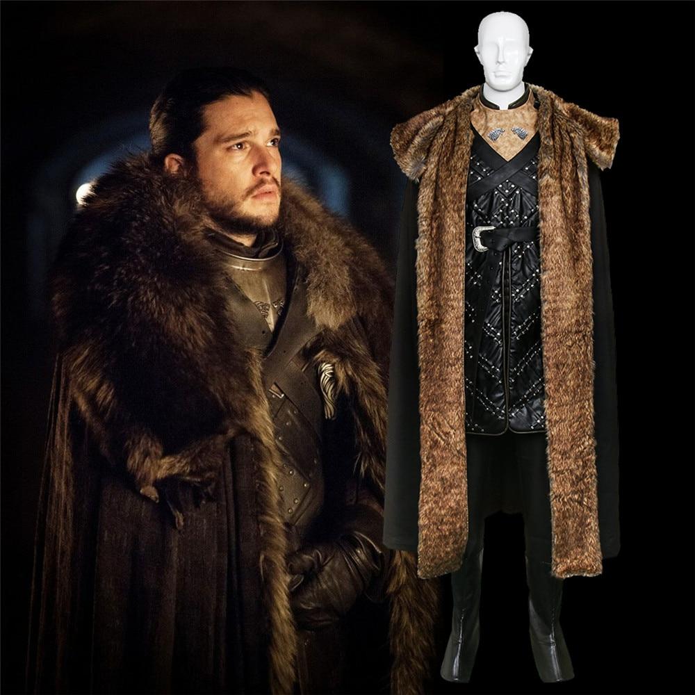 Game of Thrones Season 7 Cosplay Jon Snow Costumes Armor With Gloves Full Set