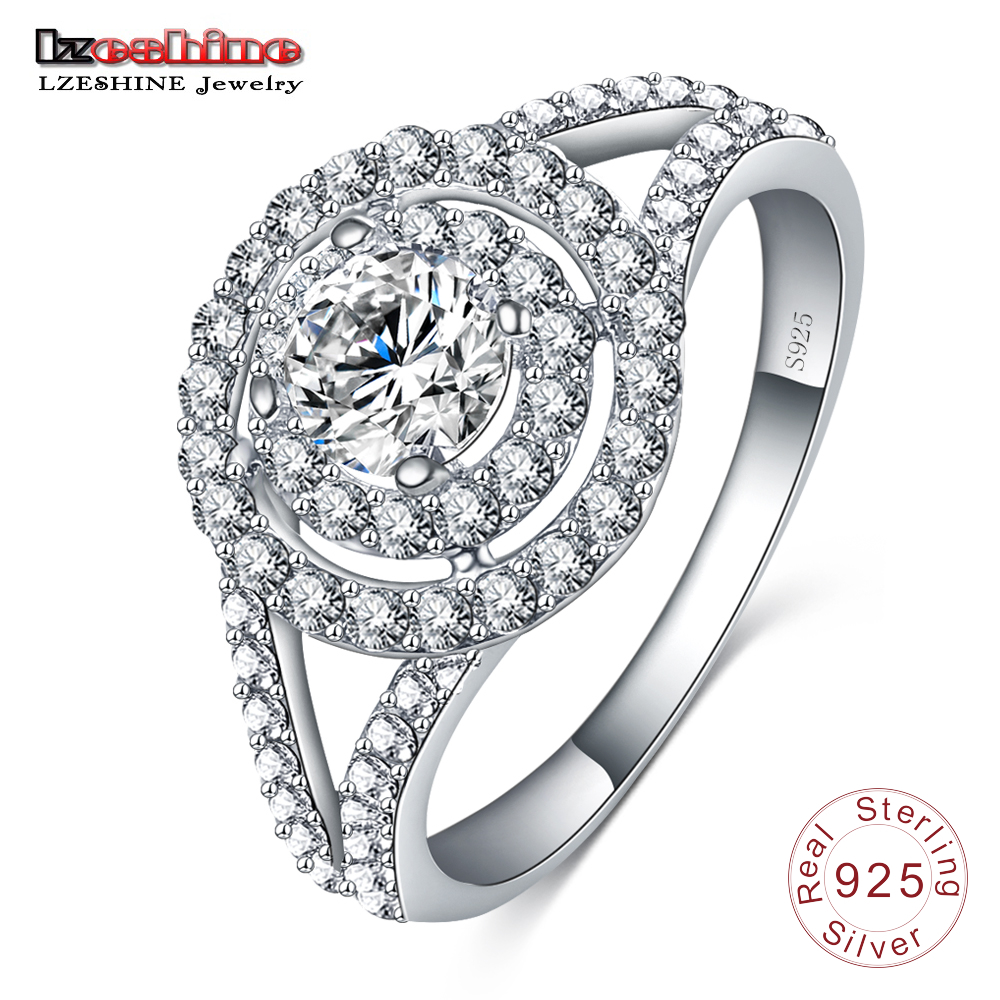 LZESHINE Fashion New Women Round Silver Ring 925 Sterling Best Gift For Women AAA Zircon Engagement