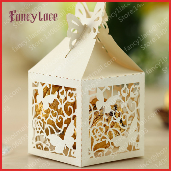 25pcs 5x5x8cm Lace Erfly Wedding Party Chocolate Bo Favour Candy Laser Cut Gift Box Favor In Bags Wring