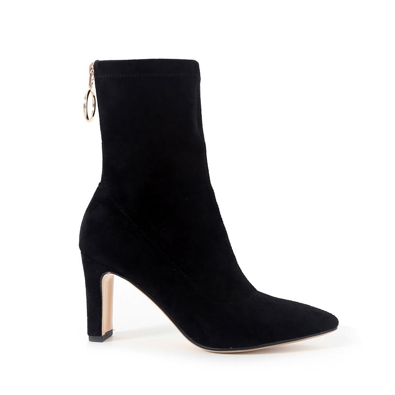 Short marrone Shoes Donna Scamosciato Boots alti Fashion Stretch Tacchi punta Wetkiss Plush Calzini Zipper Women a Nero Winter qvU7TP