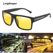 LongKeeper Brand Night Vision Sunglasses Square Polarized Glasses Men Driving For Women Retro UV400 Gafas de sol