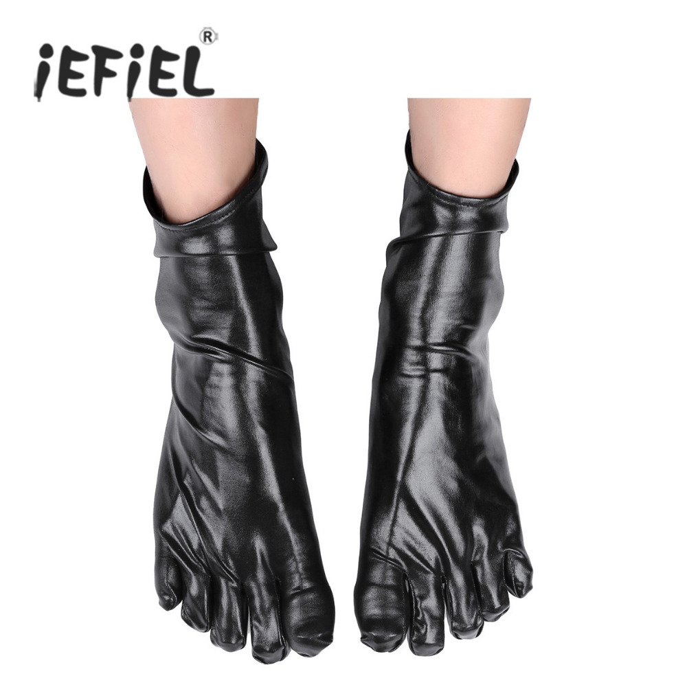 1 Pair Men Unisex Wetlook Patent Leather Short Toe Socks Costumes Accessories Shiny Metallic Latex Rubber Club Short Ankle Socks