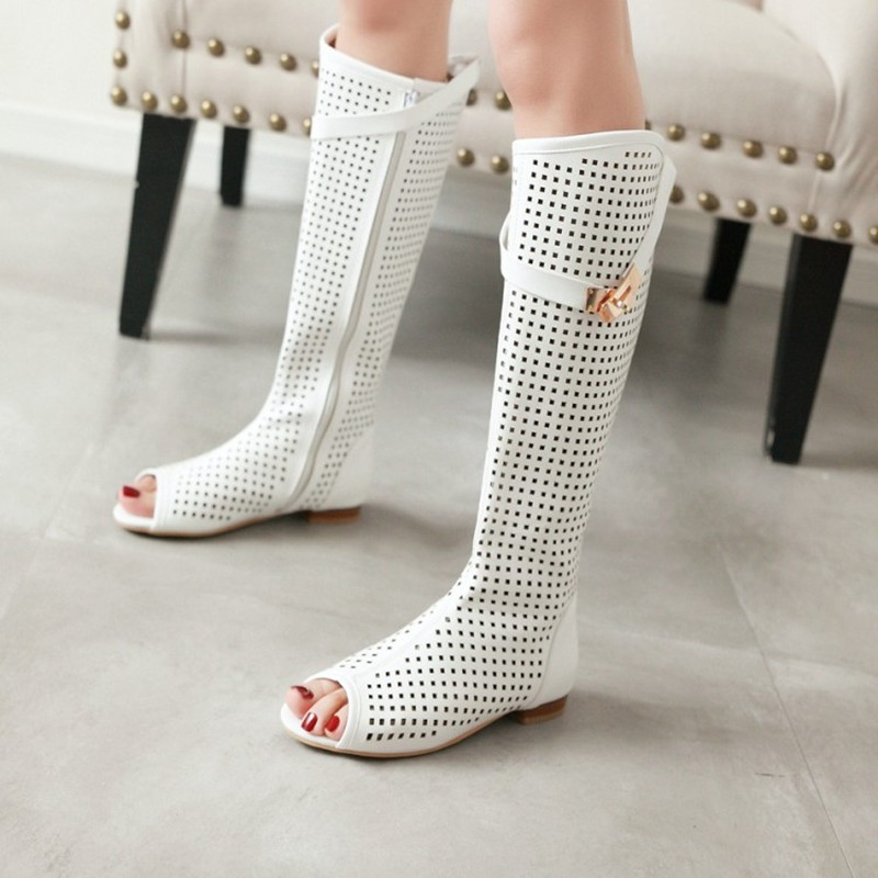Size 34 47 High Quality Leather Women Flat Heels Buckle Gladiator Long Boots Open The Toe Knee High Lady Summer Sandals Boots in Knee High Boots from Shoes