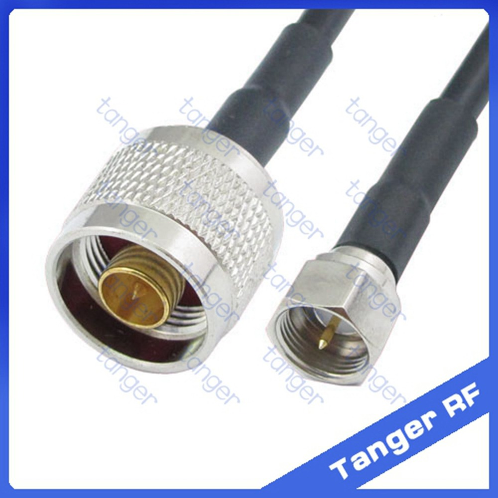 Tanger Hot Selling F male plug to N male Plug connector straight RF RG58 Pigtail Jumper Coaxial Cable 20inch 50cm High Quality dvb t rf coaxial to mcx tv antenna connector black 22cm cable