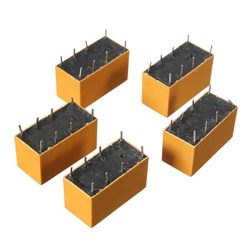 цена на 100 PCS DC12V SHG Coil DPDT 8 Pin 2NO 2NC Mini Power Relays PCB Type HK19F Yellow