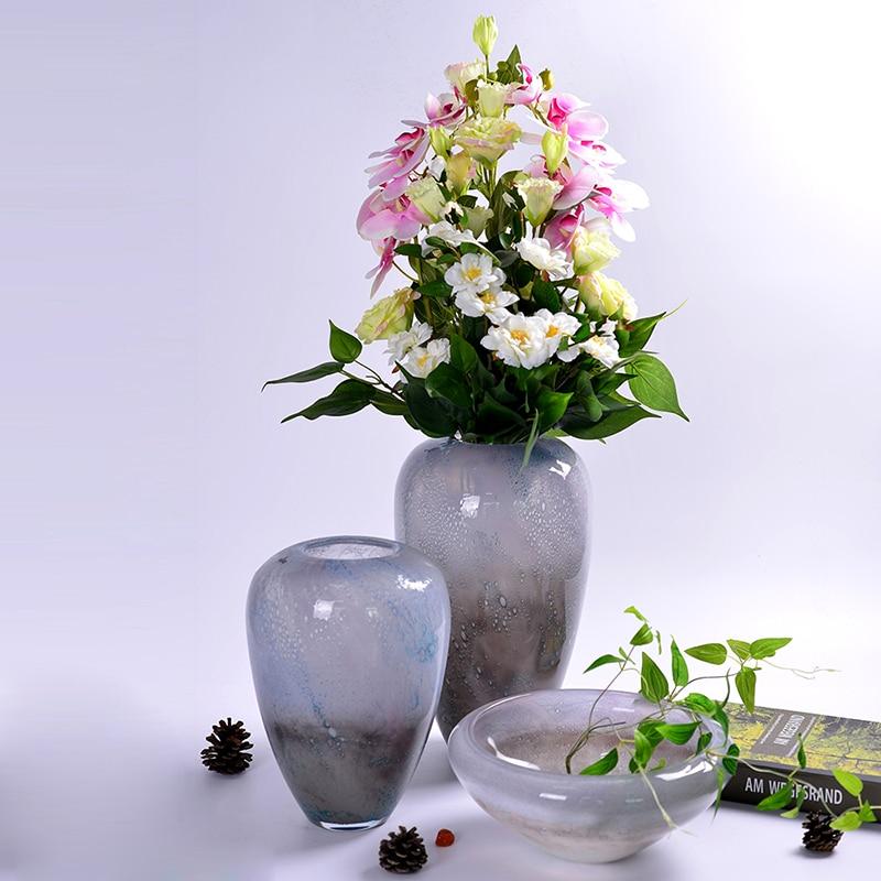 Modrn Style colored glass vase for room decoration home decor Tabletop ceram vases for flowers terrarium crystal European