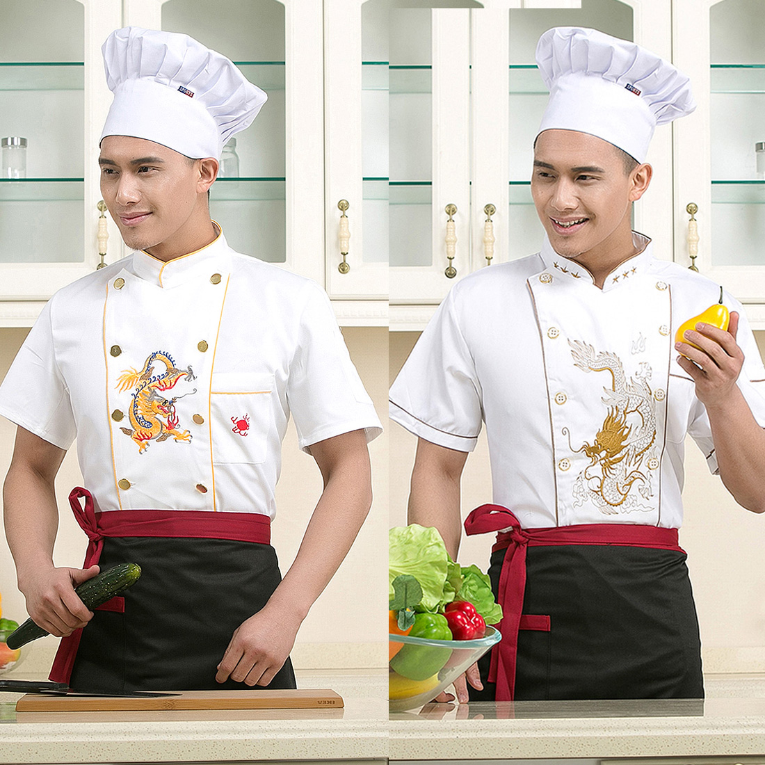 Embroidered Dragon Chef Wear Hotel Short Sleeved Uniforms Summer Restaurant Canteen Clothing Kitchen Restaurant Shirts J020