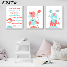 NDITB Birds Elephants Wall Art Posters Cartoon Nursery Prints Canvas Painting Nordic Kids Decoration Pictures Baby Bedroom Decor