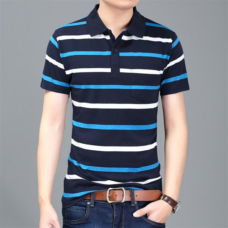 Casual cotton gentleman Men POLO Shirt Cotton pocket decoration Striped Polo Homme Summer Short-sleeve Camisa Polo Slim Fit Tee