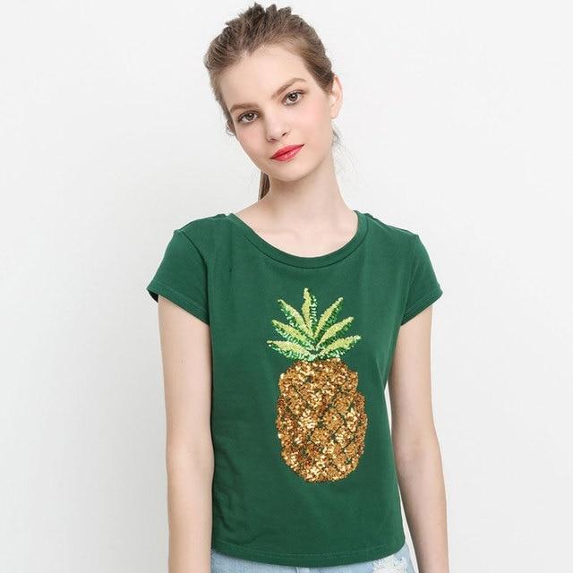 e095448c HDY T-shirt Women Pineapple Shirt Women's Shirt O-neck Summer Shirt Short  Sleeve Tee T-Shirts Green Sequined Tops Plus Size