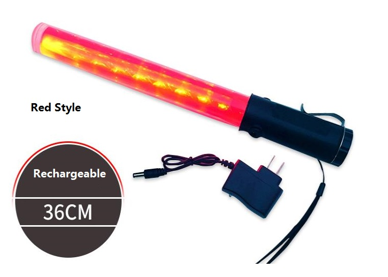 36CM Length Outdoor Rechargeable Traffic Baton Fire Control Fluorescent Rod LED Police Safety Command Stick