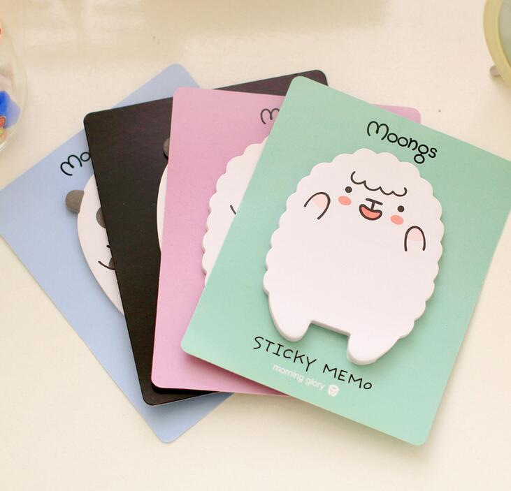 4Pcs/Set Cartoon Cute Sheep Bear Smilies Sticky Notes Creative Post Notepad Filofax Memo Pads Office Supplies Stationery