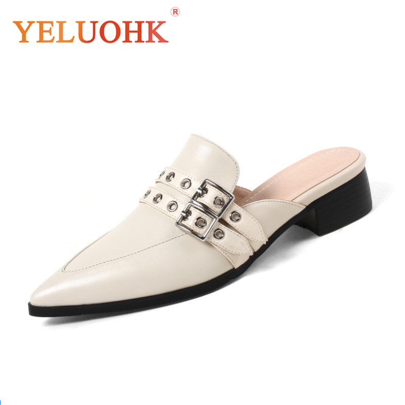 все цены на Mules Shoes Genuine Leather Shoes Women Heels Top Quality Women Pumps Shoes Pointed Toe