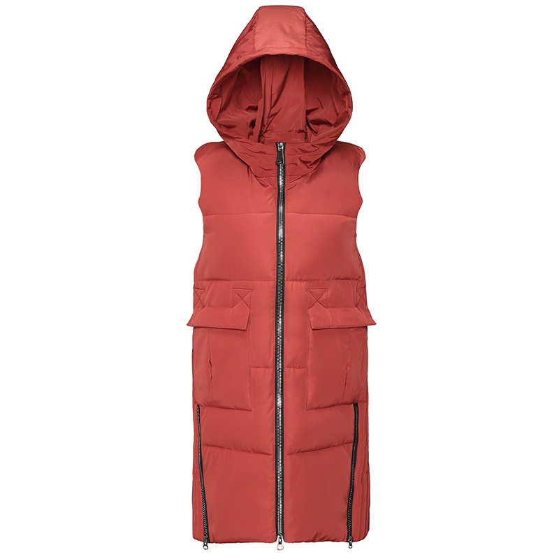 Brieuces Winter Women Vests Waistcoat 2018 Autumn Winter Mid long Down Cotton Padded Vest Female Sleeveless Jackets Hooded in Vests amp Waistcoats from Women 39 s Clothing