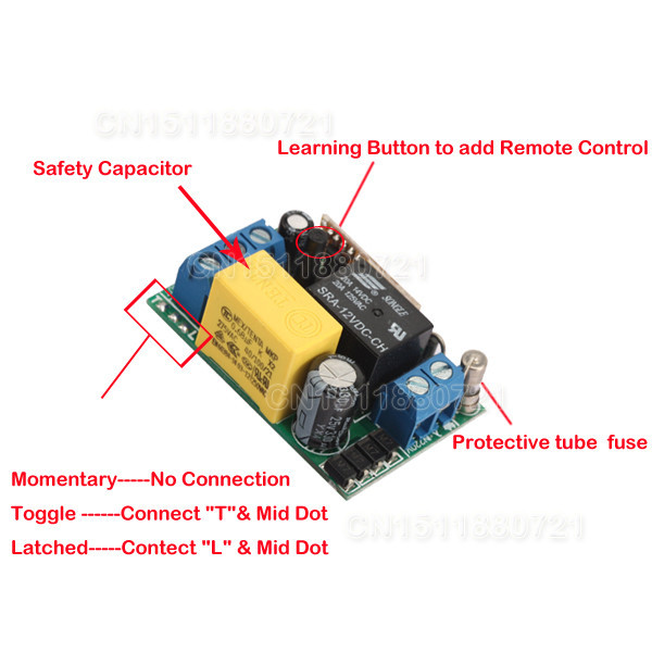 Light Lamp LED Bulb Remote Control Switches Input AC220V Output AC220V 1CH Relay Receiver Transmitter Learn Lock Unlock 315/433