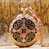 Fashion Rose Gold Hollow Skeleton Mechanical Pocket Watch Hand Wind Fob Watch Antique Gift With Chain
