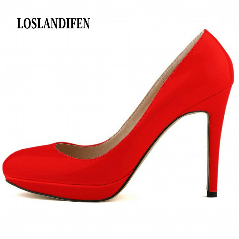 цена на LOSLANDIFEN Women Pumps High Heels 2017 Fashion Pointed Toe Women Shoe Platform Thin Heels Pumps 11cm High Heels Red Shoes Woman