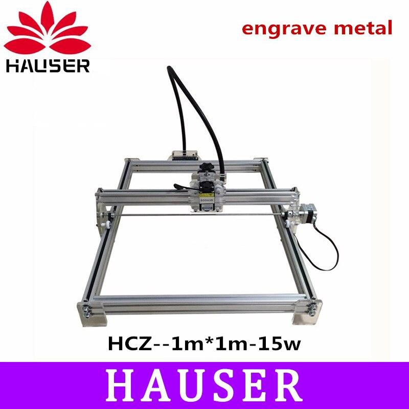 DIY 15 w grande puissance laser métal graveur, laser machine de découpe de métal, 1*1 m, grand travail taille laser graver machine, laser métal marquage